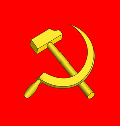 hammer and sickle on red vector image