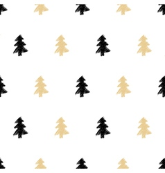 Hand drawn Christmas tree seamless pattern in vector