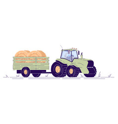Hay harvesting flat tractor with cart vector
