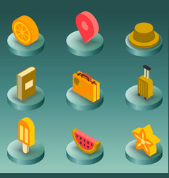 holidays color isometric icons vector image