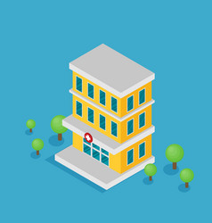 hospital building flat icon isometric vector image