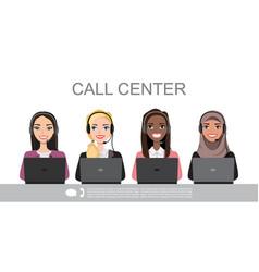 Icons set multiracial female call center vector