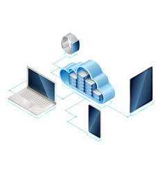 isometric concept data network management vector image