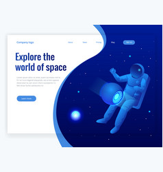 isometric web banner explore world space vector image