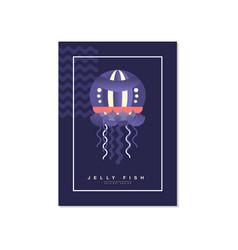 jellyfish banner template trendy summer vector image