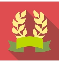 Laurel wreath with ribbon icon flat style vector