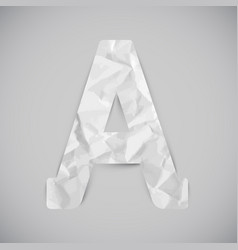 Letter made by crumpled paper with shadows vector