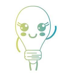 line kawaii cute happy bulb energy vector image