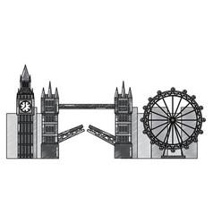 London city with famous buildings tourism england vector