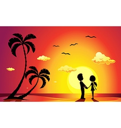lovers on a beach at sunset vector image