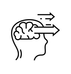 Mind directions line icon concept sign outline vector
