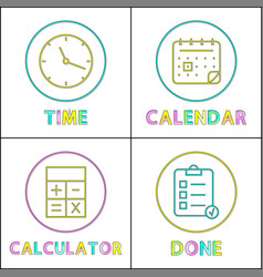 Mobile organizer elements round linear icons set vector
