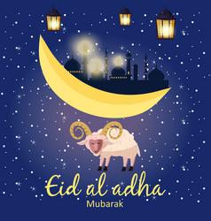 Muslim holiday eid al-adha the sacrifice a ram or vector