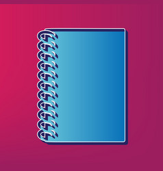notebook simple sign blue 3d printed icon vector image