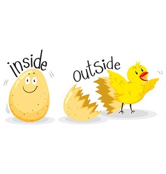 Opposite adjectives with inside and outside vector image