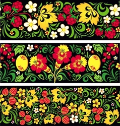 Patterns in traditional russian style Hohloma vector