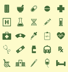 pharmacy color icons on yellow background vector image