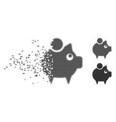 Piggy bank disappearing pixel halftone icon vector