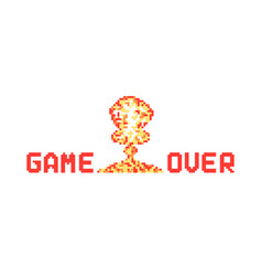 Pixel art explosion like game over vector
