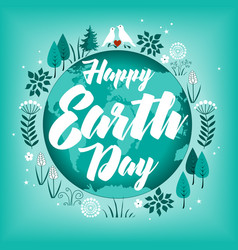 Planet in green leaves wreath happy earth day vector