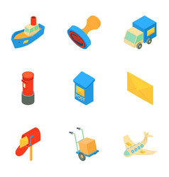 Postal delivery icons set isometric style vector