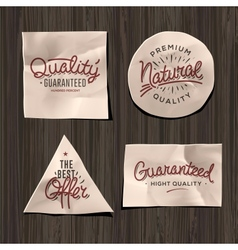 premium quality craft paper labels vector image