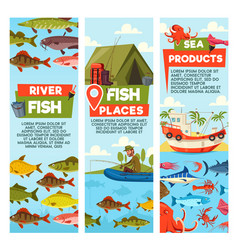 River fish and seafood products banners vector
