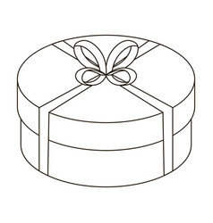 Round green gift with a red ribbon a box for a vector
