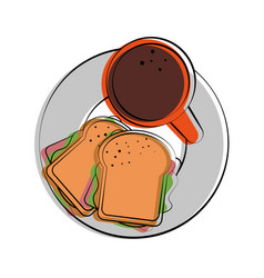 sandwich and coffee food related image vector image
