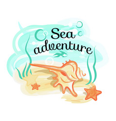 Sea adventure poster with shell lies in deep ocean vector