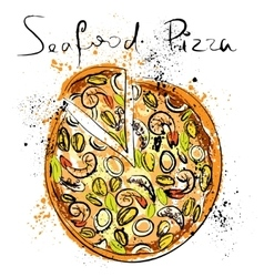 Seafood pizza drawn in chalk on a blackboard vector