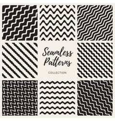 Seamless Hand Drawn Wavy Lines Patterns vector image