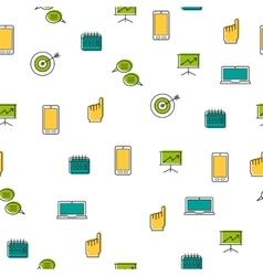 Seamless pattern - seo thin line icons vector image