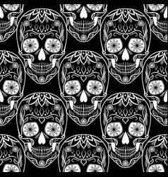 seamless pattern with skulls for day of the dead vector image