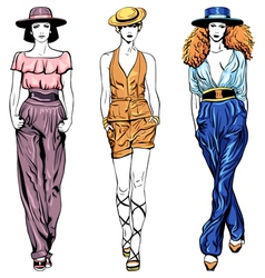 set fashion top models in trouser suits and vector image