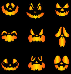 Set jack o lantern pumkins halloween faces vector