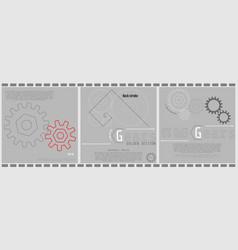 set of abstract technology backgrounds of gears vector image