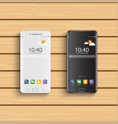 smartphones black and white new realistic mobile vector image