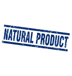 square grunge blue natural product stamp vector image