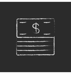 Stack of dollar bills icon drawn in chalk vector image