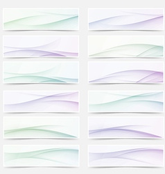 Swoosh wave lines smooth headers mega set vector image