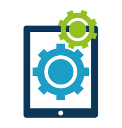 tablet electronic with gears vector image