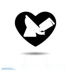 Toilet bowl on a black heart plumbing for design vector