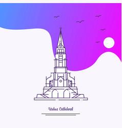Travel vaduz cathderal poster template purple vector