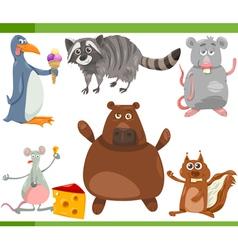 Wild animals cartoon set vector
