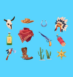 wild west cartoon set cowboy boots hat and gun vector image
