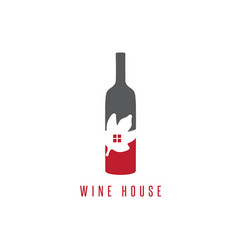 wine bottle with leaf and window design template vector image