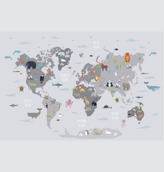 world map with wild animals vector image