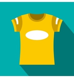 Yellow t-shirt template icon flat style vector image