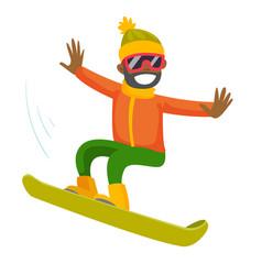 young black man riding a snowboard vector image